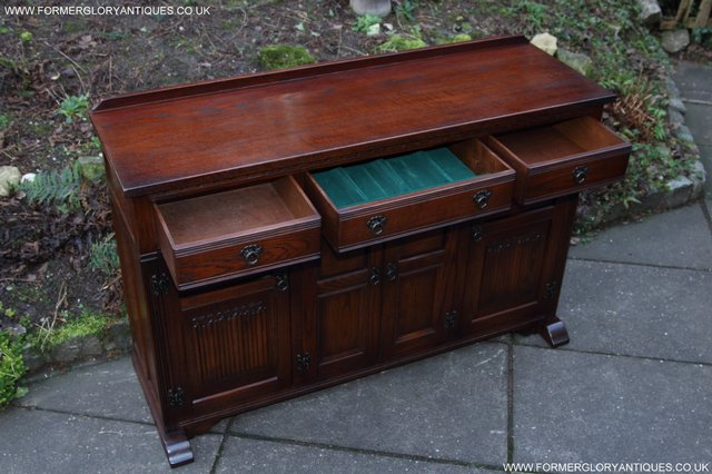 Image 20 of OLD CHARM TUDOR OAK SIDEBOARD DRESSER BASE CABINET TABLE