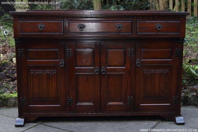 Image 33 of OLD CHARM TUDOR OAK SIDEBOARD DRESSER BASE CABINET TABLE