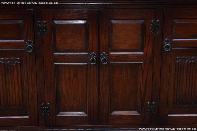 Image 38 of OLD CHARM TUDOR OAK SIDEBOARD DRESSER BASE CABINET TABLE