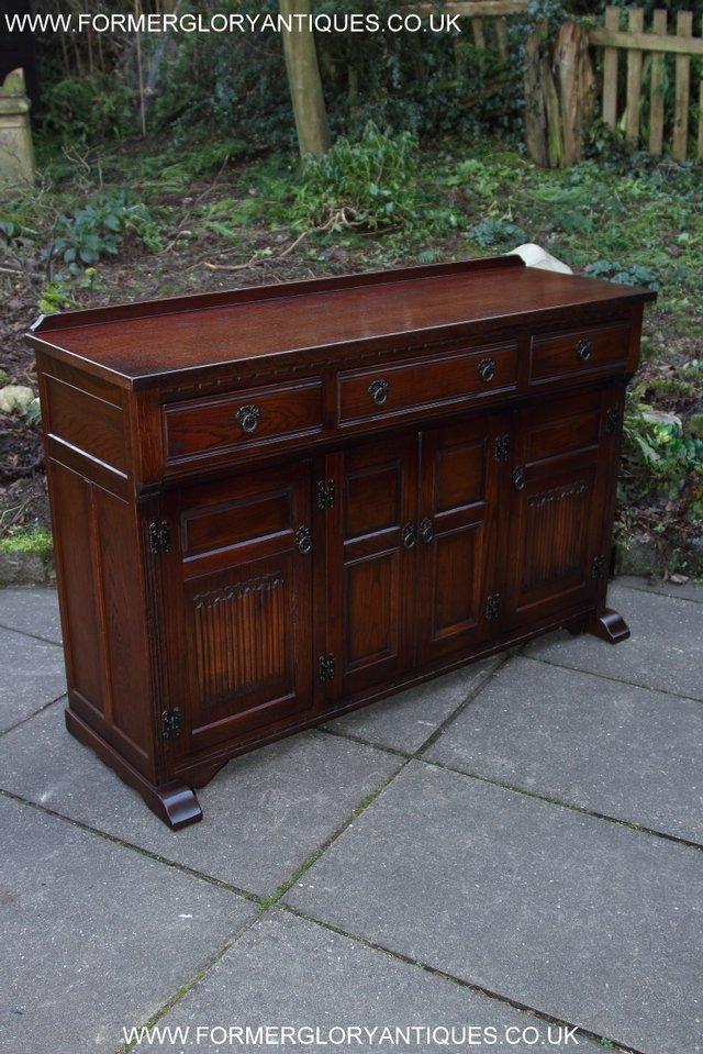Image 43 of OLD CHARM TUDOR OAK SIDEBOARD DRESSER BASE CABINET TABLE
