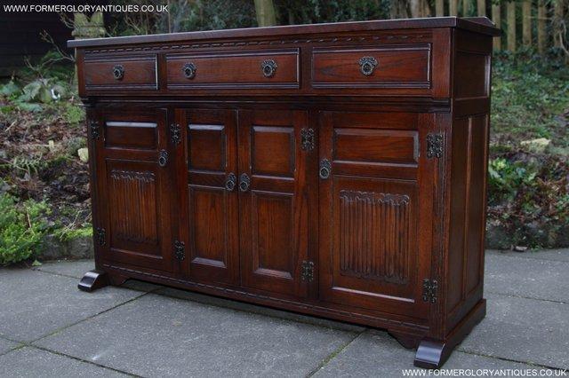 Image 44 of OLD CHARM TUDOR OAK SIDEBOARD DRESSER BASE CABINET TABLE
