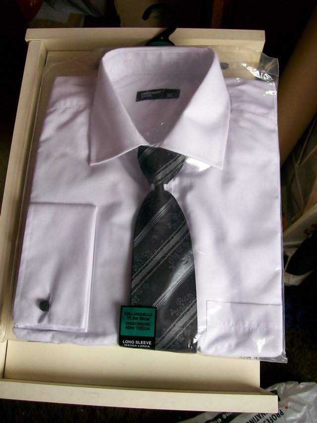 """Preview of the first image of Mens White Shirt 15.5"""" Collar and Tie - New."""