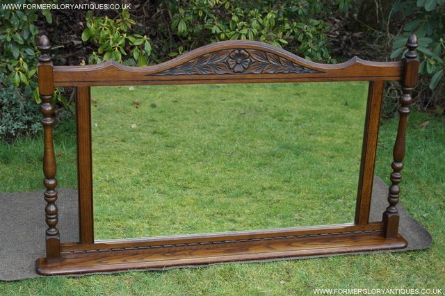 Image 2 of OLD CHARM OAK FIRE SURROUND SIDEBOARD HALL TABLE MIRROR