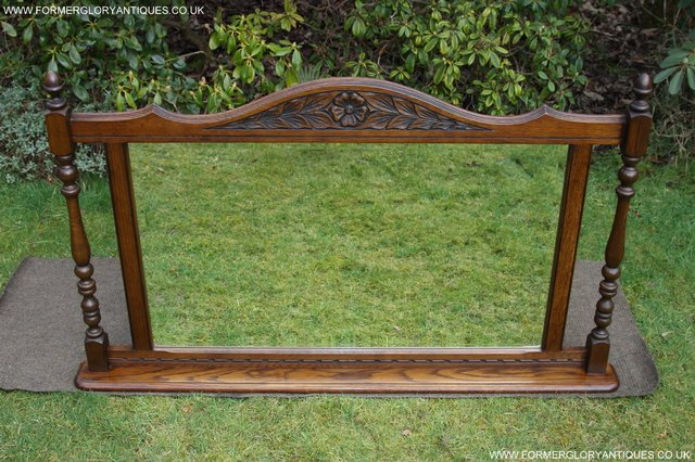 Image 3 of OLD CHARM OAK FIRE SURROUND SIDEBOARD HALL TABLE MIRROR