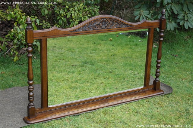 Image 7 of OLD CHARM OAK FIRE SURROUND SIDEBOARD HALL TABLE MIRROR