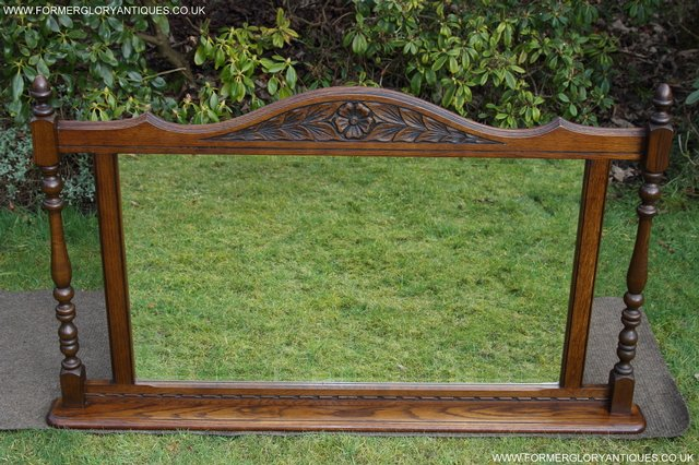 Image 9 of OLD CHARM OAK FIRE SURROUND SIDEBOARD HALL TABLE MIRROR