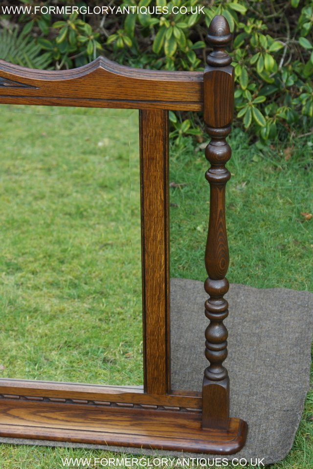 Image 11 of OLD CHARM OAK FIRE SURROUND SIDEBOARD HALL TABLE MIRROR
