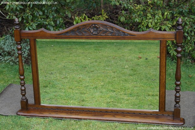 Image 16 of OLD CHARM OAK FIRE SURROUND SIDEBOARD HALL TABLE MIRROR