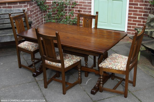 Enjoyable Old Charm Light Oak Kitchen Dining Set Table Four Chairs For Complete Home Design Collection Lindsey Bellcom