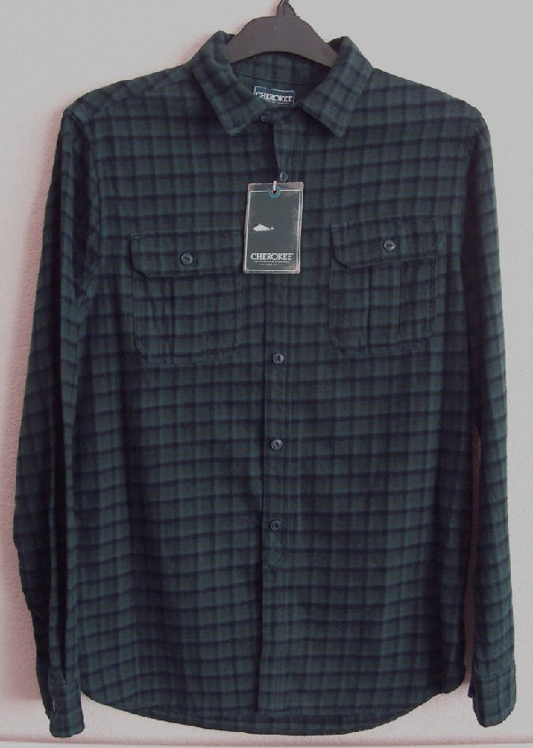 Preview of the first image of BNWT MENS GREEN/NAVY CHECK SHIRT BY CHEROKEE - SZ M   B20.