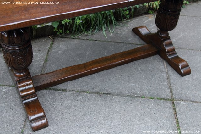 Image 2 of TITCHMARSH GOODWIN CARVED OAK REFECTORY TRESTLE DINING TABLE