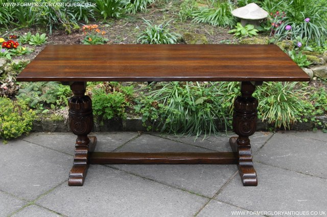 Image 5 of TITCHMARSH GOODWIN CARVED OAK REFECTORY TRESTLE DINING TABLE