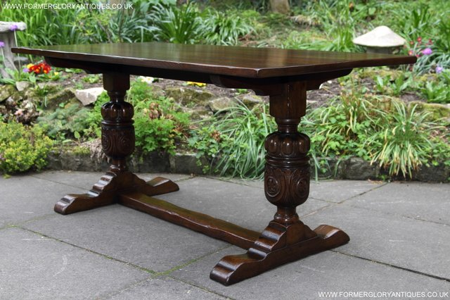 Image 7 of TITCHMARSH GOODWIN CARVED OAK REFECTORY TRESTLE DINING TABLE
