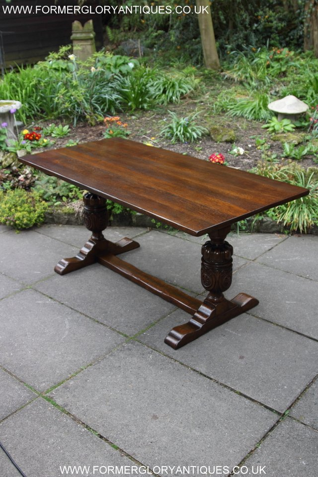 Image 9 of TITCHMARSH GOODWIN CARVED OAK REFECTORY TRESTLE DINING TABLE