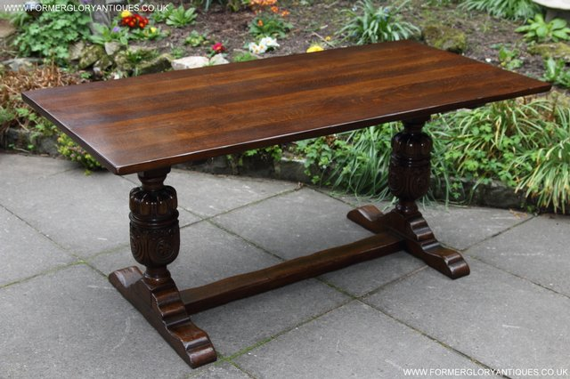 Image 10 of TITCHMARSH GOODWIN CARVED OAK REFECTORY TRESTLE DINING TABLE