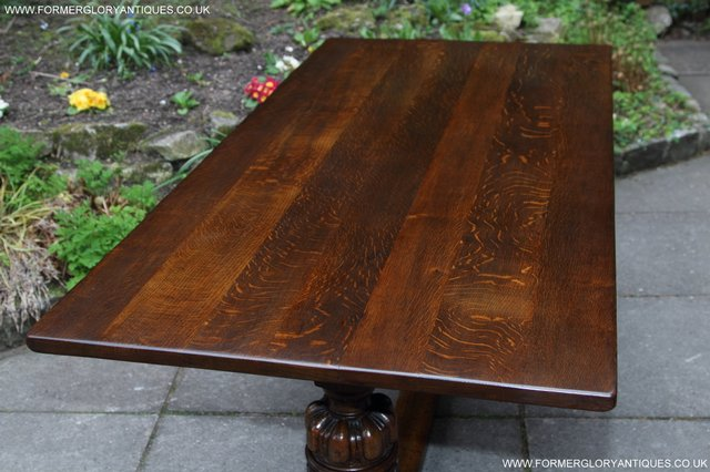 Image 11 of TITCHMARSH GOODWIN CARVED OAK REFECTORY TRESTLE DINING TABLE