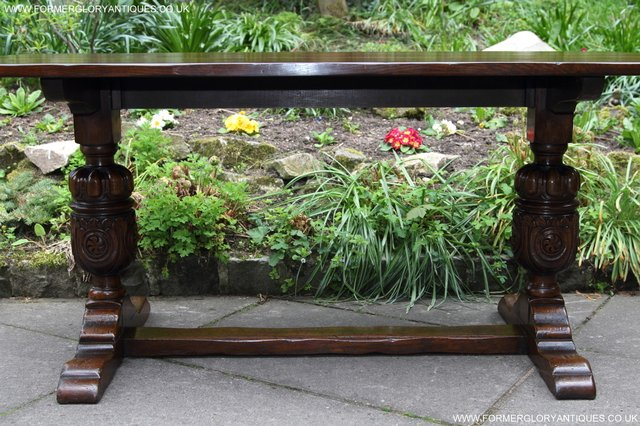 Image 12 of TITCHMARSH GOODWIN CARVED OAK REFECTORY TRESTLE DINING TABLE