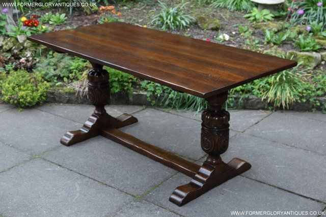 Image 13 of TITCHMARSH GOODWIN CARVED OAK REFECTORY TRESTLE DINING TABLE