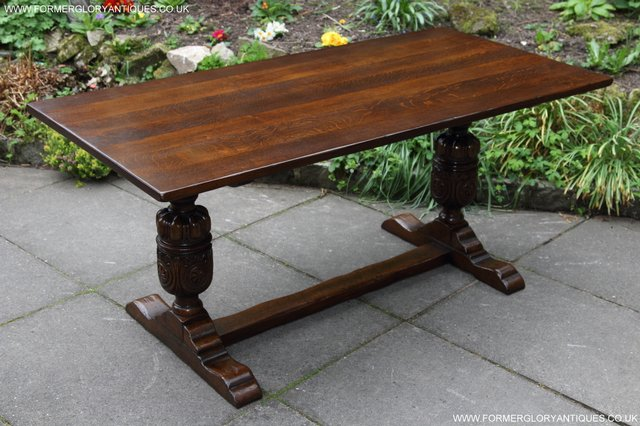 Image 14 of TITCHMARSH GOODWIN CARVED OAK REFECTORY TRESTLE DINING TABLE
