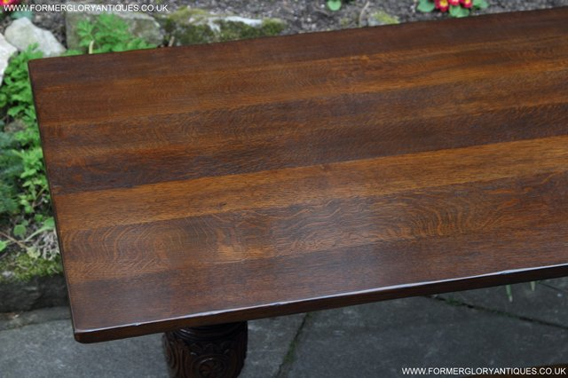 Image 15 of TITCHMARSH GOODWIN CARVED OAK REFECTORY TRESTLE DINING TABLE