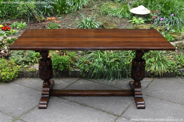Image 18 of TITCHMARSH GOODWIN CARVED OAK REFECTORY TRESTLE DINING TABLE