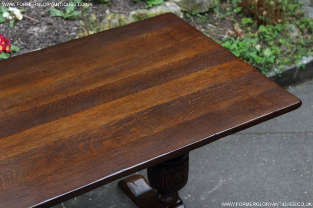 Image 22 of TITCHMARSH GOODWIN CARVED OAK REFECTORY TRESTLE DINING TABLE