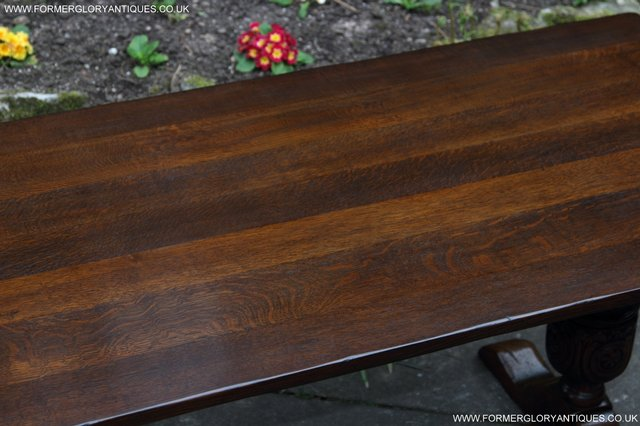 Image 26 of TITCHMARSH GOODWIN CARVED OAK REFECTORY TRESTLE DINING TABLE