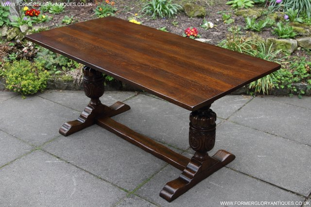 Image 29 of TITCHMARSH GOODWIN CARVED OAK REFECTORY TRESTLE DINING TABLE