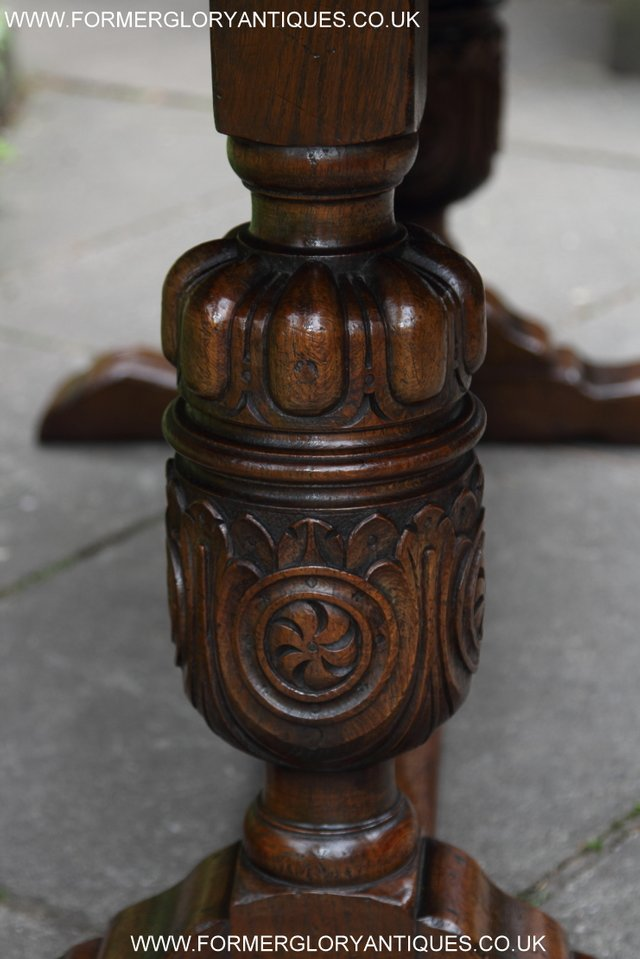 Image 30 of TITCHMARSH GOODWIN CARVED OAK REFECTORY TRESTLE DINING TABLE