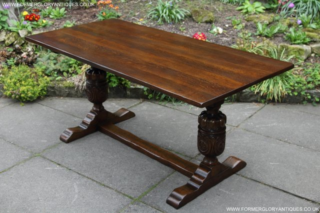 Image 32 of TITCHMARSH GOODWIN CARVED OAK REFECTORY TRESTLE DINING TABLE