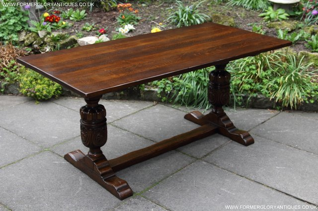 Image 33 of TITCHMARSH GOODWIN CARVED OAK REFECTORY TRESTLE DINING TABLE