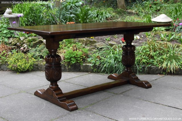 Image 34 of TITCHMARSH GOODWIN CARVED OAK REFECTORY TRESTLE DINING TABLE