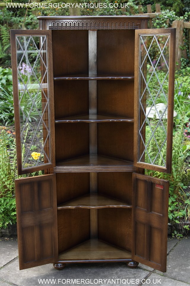 Image 3 of OLD CHARM STYLE OAK CORNER CABINET DISPLAY CUPBOARD BOOKCASE