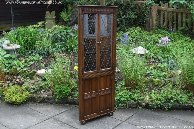Image 6 of OLD CHARM STYLE OAK CORNER CABINET DISPLAY CUPBOARD BOOKCASE