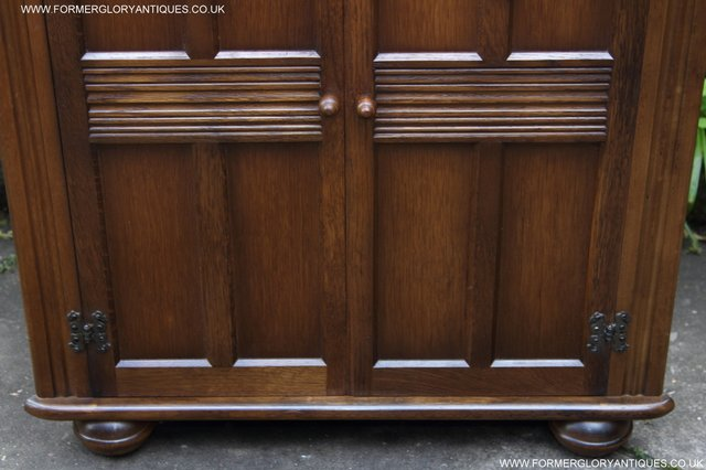 Image 9 of OLD CHARM STYLE OAK CORNER CABINET DISPLAY CUPBOARD BOOKCASE