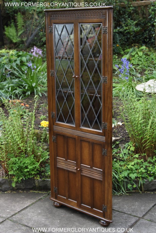 Image 10 of OLD CHARM STYLE OAK CORNER CABINET DISPLAY CUPBOARD BOOKCASE
