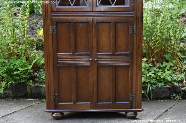 Image 15 of OLD CHARM STYLE OAK CORNER CABINET DISPLAY CUPBOARD BOOKCASE