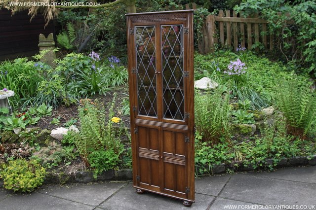Image 16 of OLD CHARM STYLE OAK CORNER CABINET DISPLAY CUPBOARD BOOKCASE
