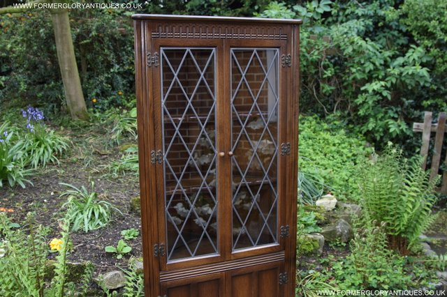 Image 19 of OLD CHARM STYLE OAK CORNER CABINET DISPLAY CUPBOARD BOOKCASE