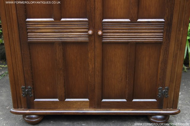 Image 20 of OLD CHARM STYLE OAK CORNER CABINET DISPLAY CUPBOARD BOOKCASE
