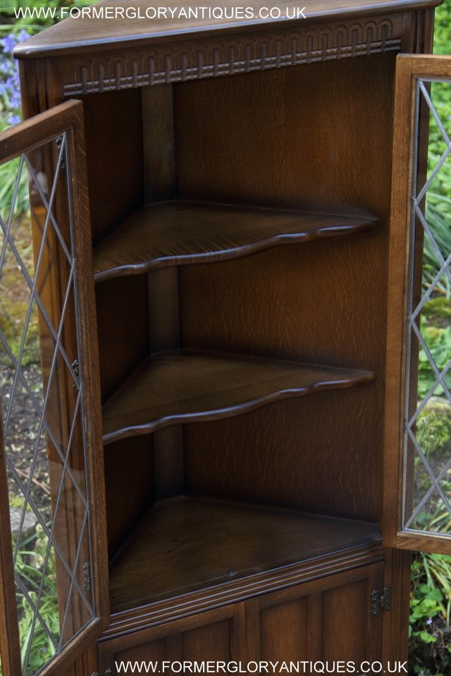Image 23 of OLD CHARM STYLE OAK CORNER CABINET DISPLAY CUPBOARD BOOKCASE