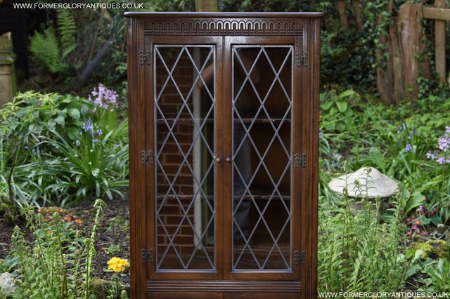 Image 24 of OLD CHARM STYLE OAK CORNER CABINET DISPLAY CUPBOARD BOOKCASE