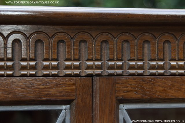 Image 25 of OLD CHARM STYLE OAK CORNER CABINET DISPLAY CUPBOARD BOOKCASE