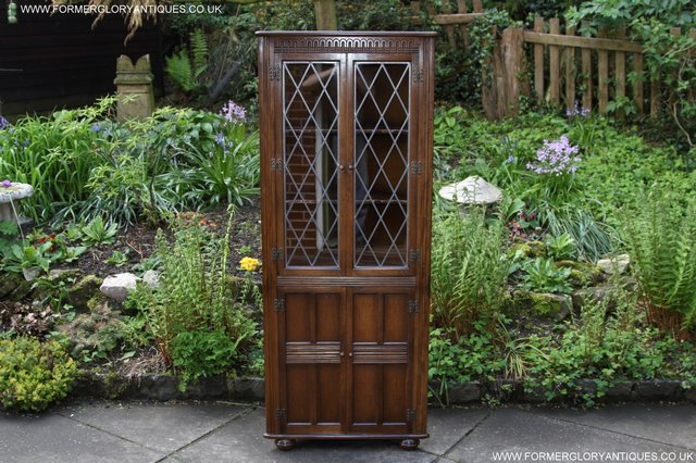 Image 32 of OLD CHARM STYLE OAK CORNER CABINET DISPLAY CUPBOARD BOOKCASE
