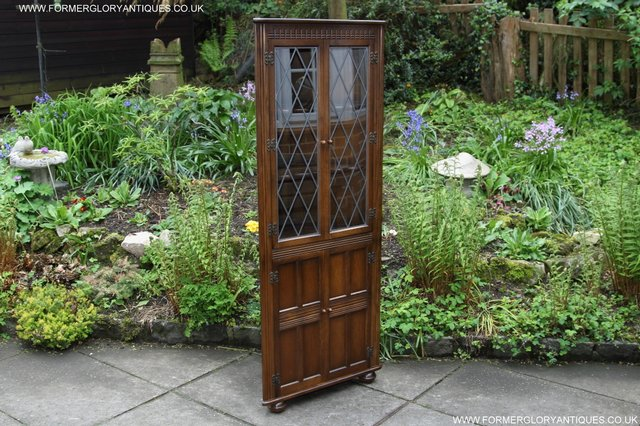 Image 33 of OLD CHARM STYLE OAK CORNER CABINET DISPLAY CUPBOARD BOOKCASE