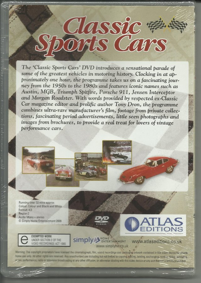 Image 2 of CLASSIC SPORTS CARS DVD. REGION 2-RUNNING TIME:53 MINS