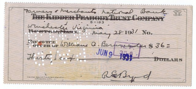 Image 3 of Richard E. Byrd - Explorer  Hand Signed Cheque Historic Item
