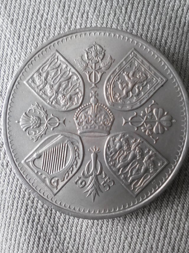 Image 2 of Coronation five shilling coin 1953