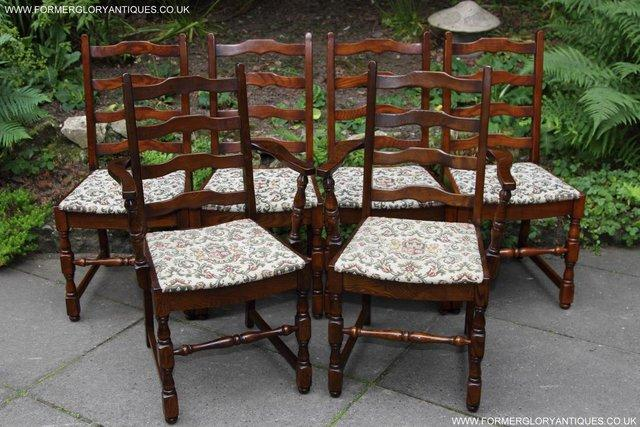 Image 2 of SIX OAK LADDER BACK OLD CHARM STYLE DINING CHAIRS ARMCHAIRS