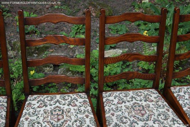 Image 3 of SIX OAK LADDER BACK OLD CHARM STYLE DINING CHAIRS ARMCHAIRS